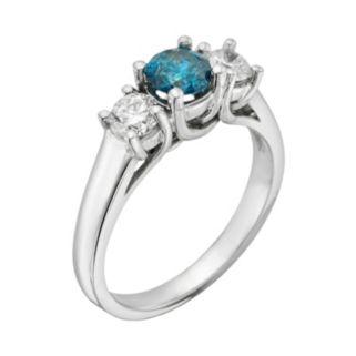 14k White Gold 1-ct. T.W. Round-Cut IGL Certified Blue and White Diamond 3-Stone Ring