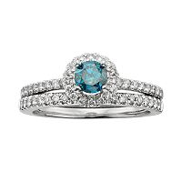 Round-Cut IGL Certified Blue & White Diamond Frame Engagement Ring Set in 14k White Gold (1 ctT.W.)