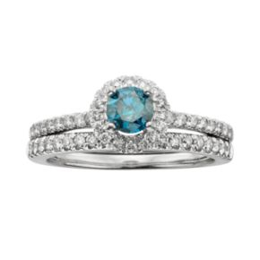 Round-Cut IGL Certified Blue and White Diamond Frame Engagement Ring Set in 14k White Gold (1 ct. T.W.)