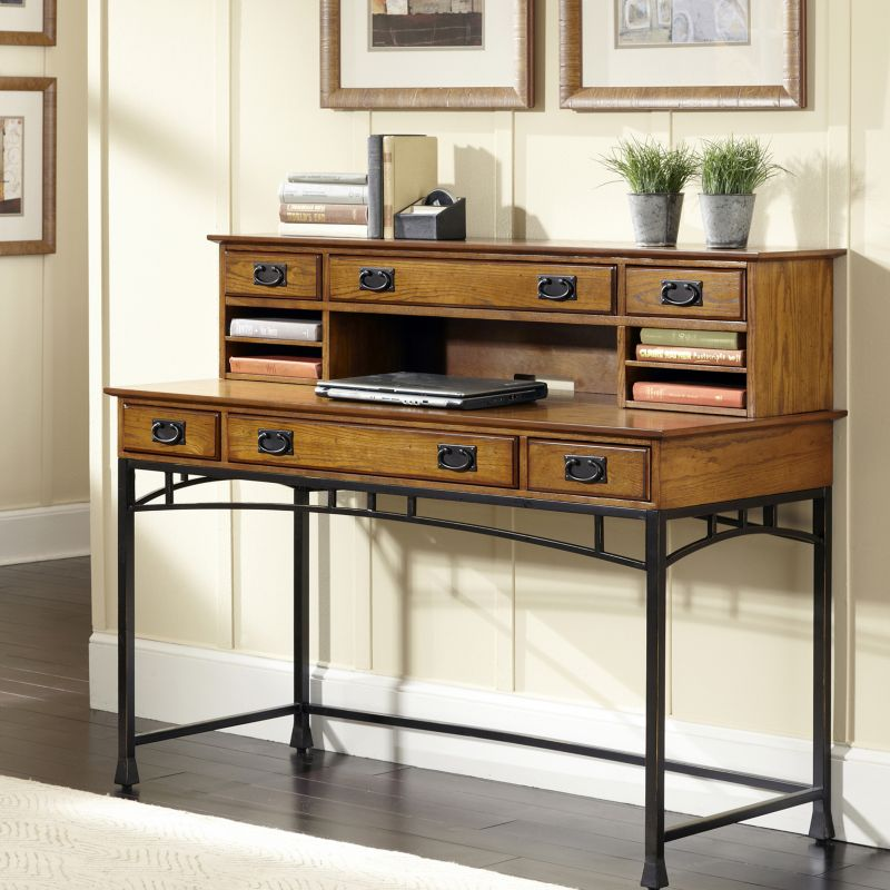 Modern Craftsman 2-pc. Executive Desk & Hutch Set, Brown