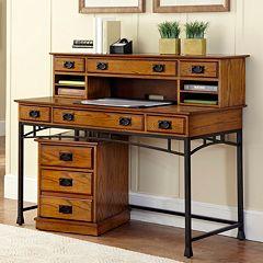 Modern Craftsman 3 pc Executive Desk, Hutch & Mobile File Cart Set