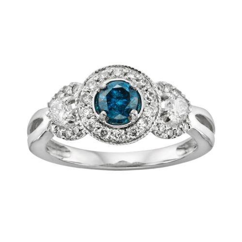 Round-Cut IGL Certified Blue and White Diamond 3-Stone Frame Engagement Ring in 14k White Gold (1 ct...