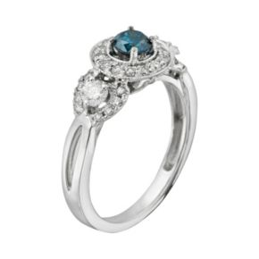 Round-Cut IGL Certified Blue and White Diamond 3-Stone Frame Engagement Ring in 14k White Gold (1 ct. T.W.)