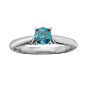 Round-Cut IGL Certified Blue Diamond Solitaire Engagement Ring in 14k White Gold (1/2-ct. T.W.)