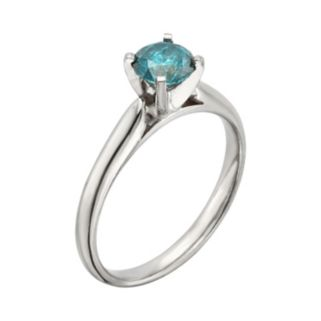 Round-Cut IGL Certified Blue Diamond Solitaire Engagement Ring in 14k White Gold (3/4-ct. T.W.)