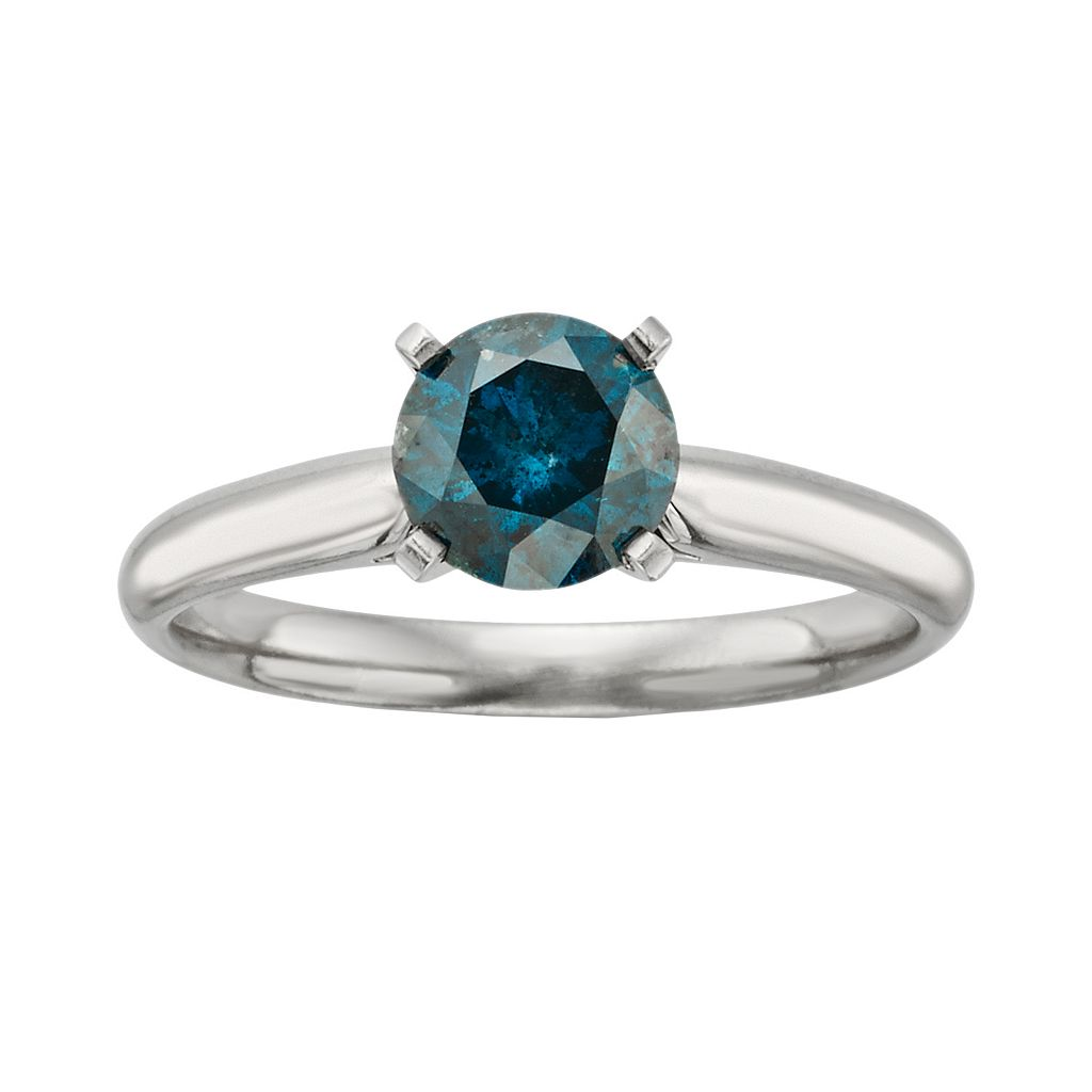 14k White Gold 1-ct. T.W. Round-Cut IGL Certified Blue Diamond Solitaire Ring