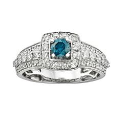 Round-Cut IGL Certified Blue & White Diamond Frame Engagement Ring in 14k White Gold (1 ctT.W.)