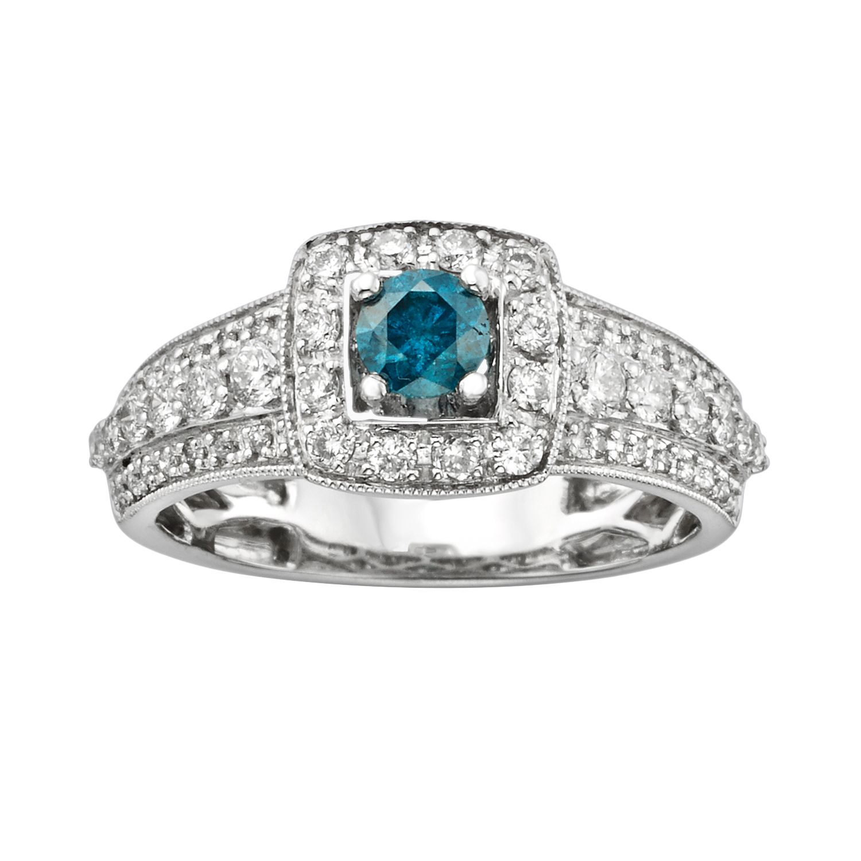 roundcut igl certified blue u0026 white diamond frame engagement ring in 14k white gold