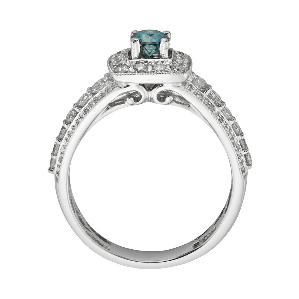 Round-Cut IGL Certified Blue and White Diamond Frame Engagement Ring in 14k White Gold (1 ct. T.W.)