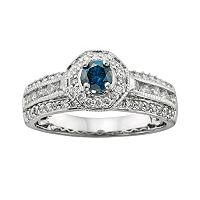 Round-Cut IGL Certified Blue and White Diamond Frame Engagement Ring in 14k White Gold (1 ctT.W.)