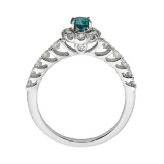 Round-Cut IGL Certified Blue & White Diamond Frame Engagement Ring in 14k White Gold (1-ct. T.W.)