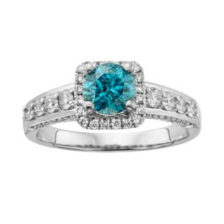 Round-Cut IGL Certified Blue and White Diamond Frame Engagement Ring in 14k White Gold (1 3/4 ct. T.W.)