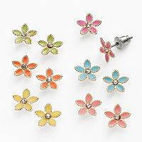 SO® Gold Tone Simulated Crystal Flower Stud Earring Set