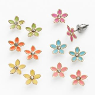 SO Gold Tone Simulated Crystal Flower Stud Earring Set