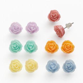 SO Silver Tone Flower Stud Earring Set