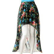 Stooshy Floral Hi-Low Chiffon Skirt - Juniors