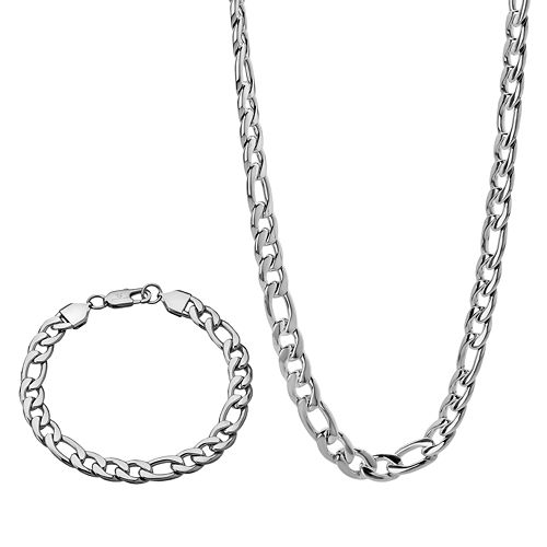 Stainless Steel Curb Chain Necklace & Bracelet Set