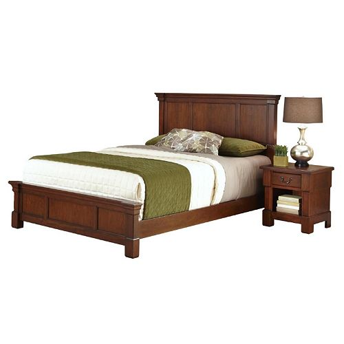 Home Styles Aspen 4-pc. King Headboard, Footboard, Frame and Nightstand Set