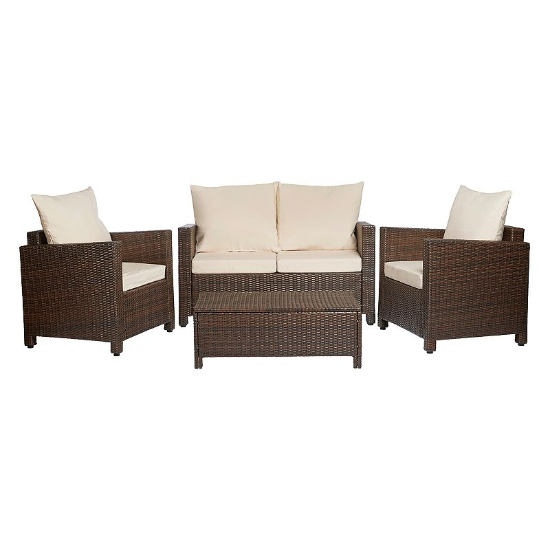 Handy Living 4-pc. Wicker Table and Chair Set - Indoor and Outdoor