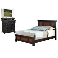 Home Styles Aspen 4-pc. Queen Headboard, Footboard, Frame and 4-Drawer Media Chest Set