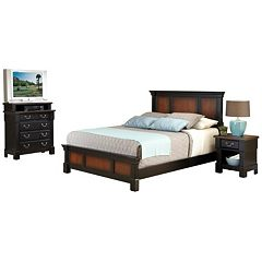 Home Styles Aspen 5-pc. King Headboard, Footboard, Frame, 4-Drawer Media Chest and Nightstand Set