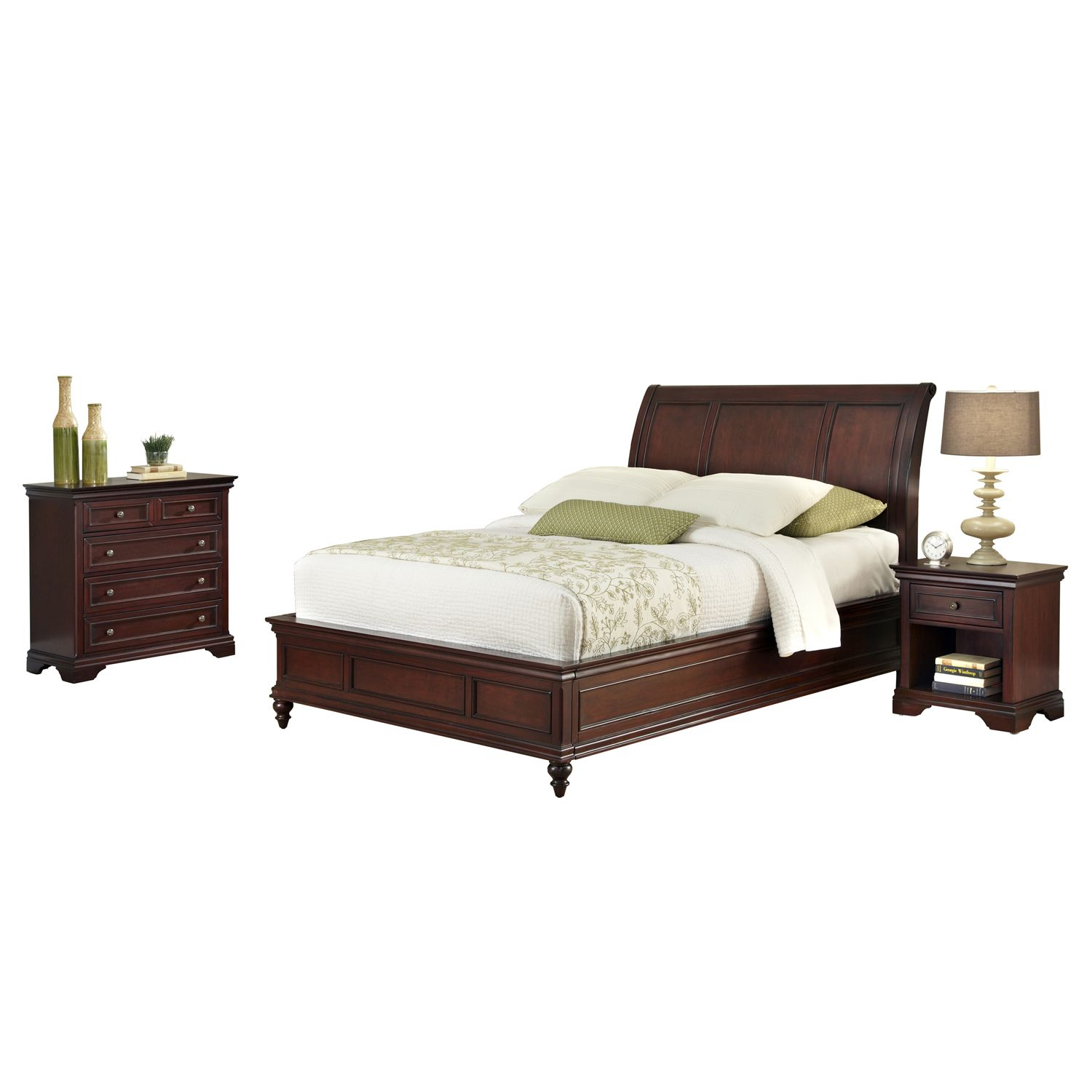 Nice Queen Headboard Drawer Chest u Nightstand Set