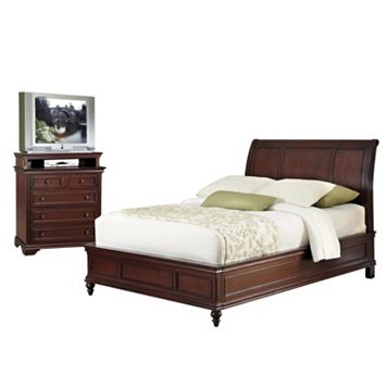 Home Styles Lafayette 4-pc. King Headboard, Footboard, Frame and 5-Drawer Media Chest Set