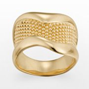 18k Gold-Plated Textured Ring