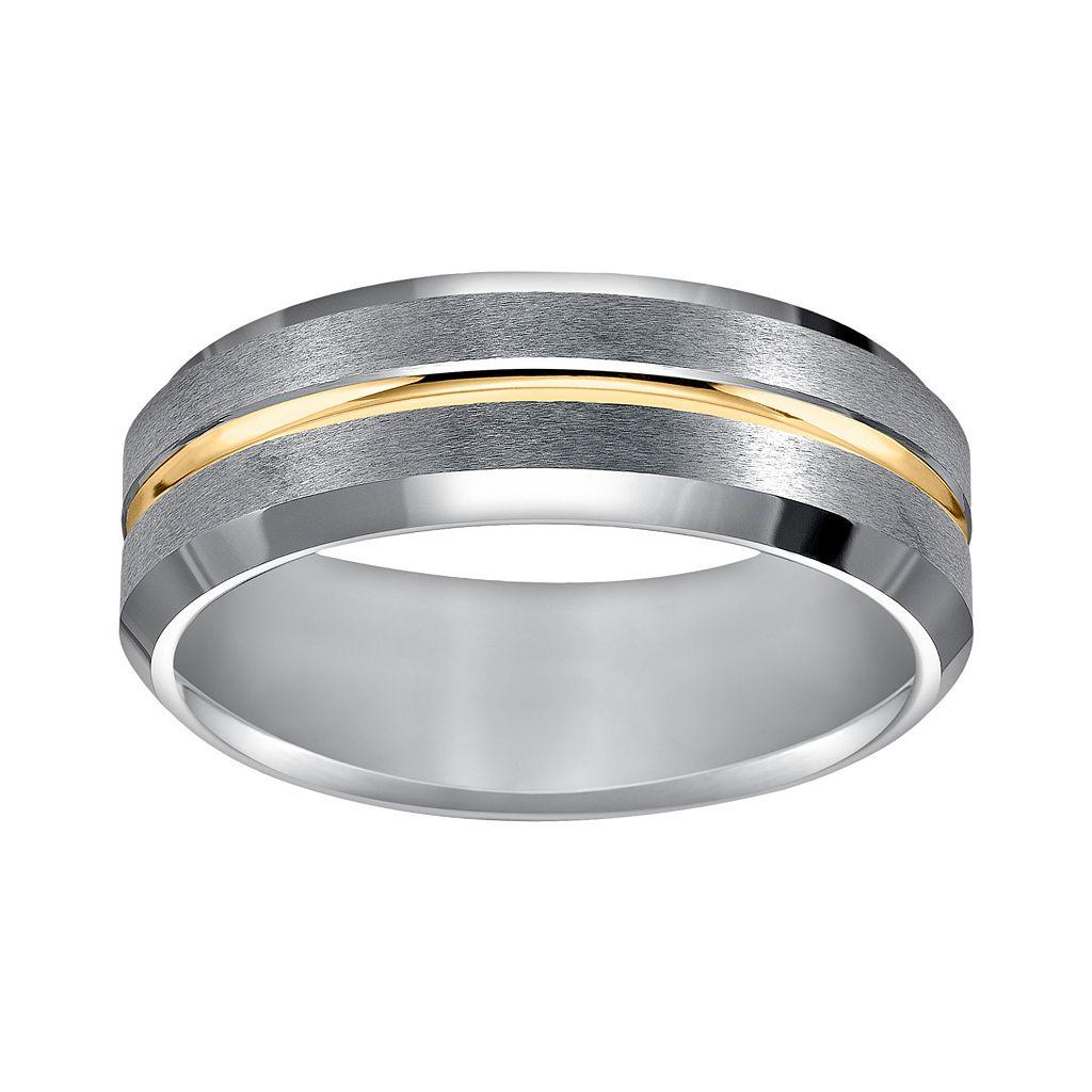 Cherish Always Tungsten Carbide & Yellow Ion-Plated Tungsten Carbide Wedding Band - Men
