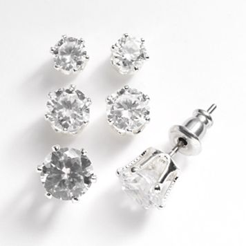 Napier Silver Tone Simulated Crystal Stud Earring Set