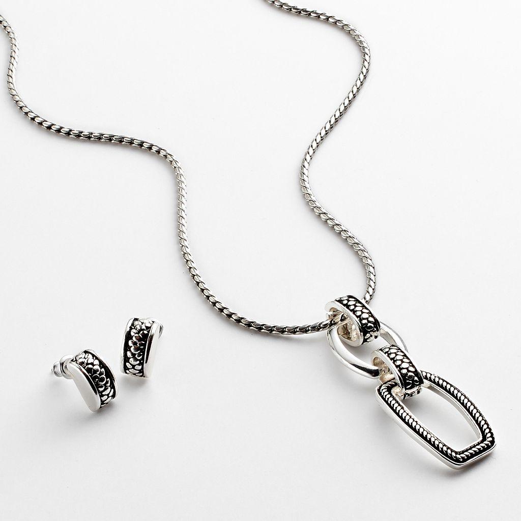 Napier Silver Tone Pendant & Stud Earring Set