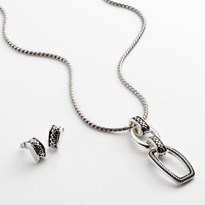 Napier Silver Tone Pendant and Stud Earring Set