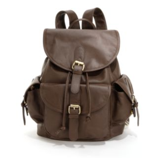 AmeriLeather Urban Buckle Flap Leather Backpack