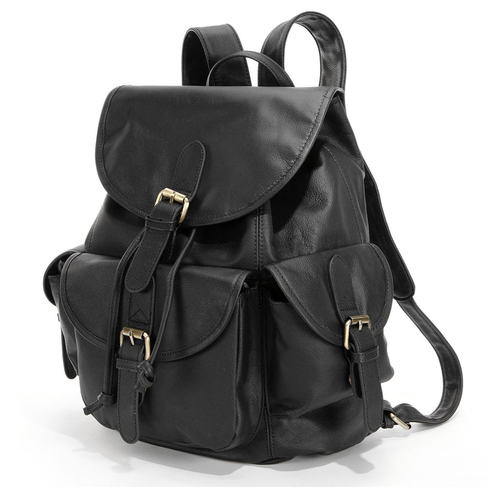 Urban Buckle Flap Leather Backpack