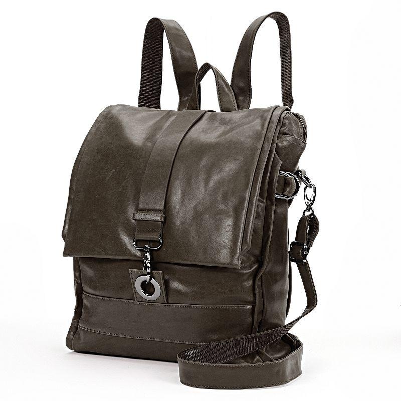 AmeriLeather Vintage Leather Flap Convertible Messenger Bag