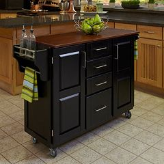 Oak-Top Four Drawer Kitchen Cart
