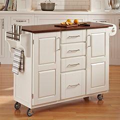 Oak-Top Four Drawer Kitchen Cart