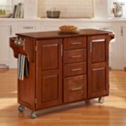 Cherry-Top 4-Drawer Kitchen Cart