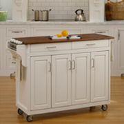 Oak-Top Two Drawer Kitchen Cart