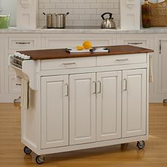 Oak-Top Two Drawer Kitchen Cart