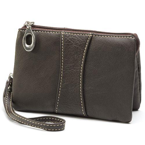 AmeriLeather Mini Zip Leather Wristlet