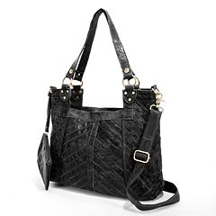 27a3e254757a AmeriLeather Hazelle Leather Convertible Shoulder Bag. Rainbow Black