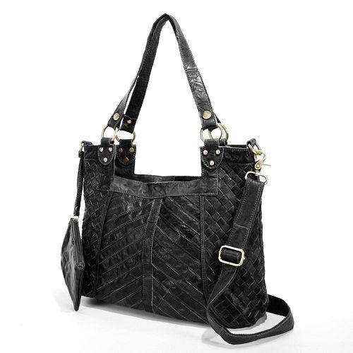 AmeriLeather Hazelle Leather Convertible Shoulder Bag