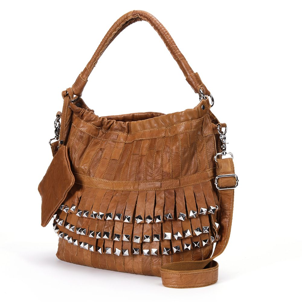 AmeriLeather Tutu Studded Leather Patchwork Shoulder Bag