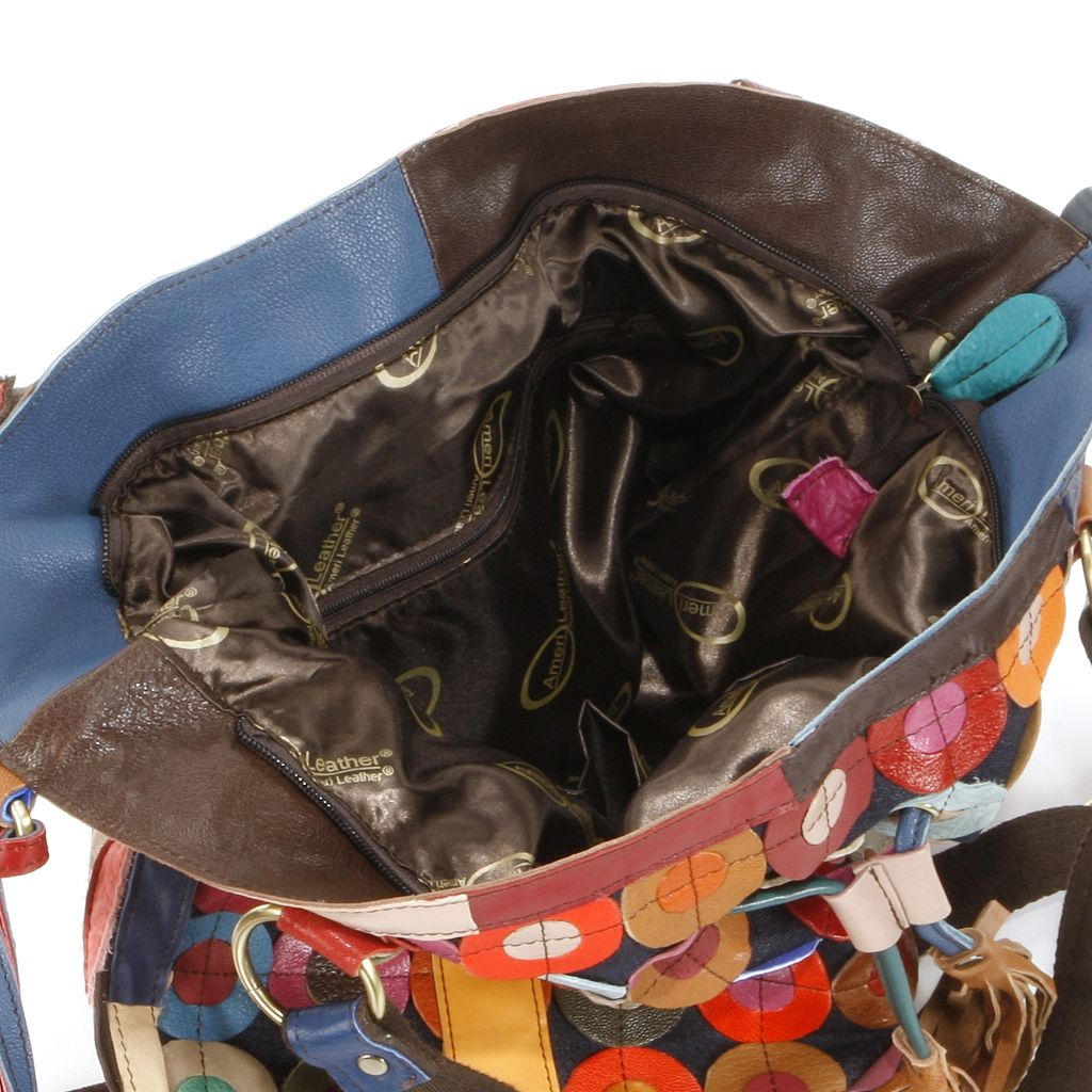 AmeriLeather Lloyd Leather Patchwork Circles Convertible Tote