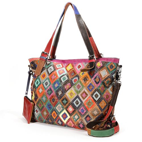 AmeriLeather Bailey Rainbow Patchwork Leather Convertible Tote