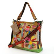 AmeriLeather Rosalie Leather & Canvas Floral Patched Convertible Tote