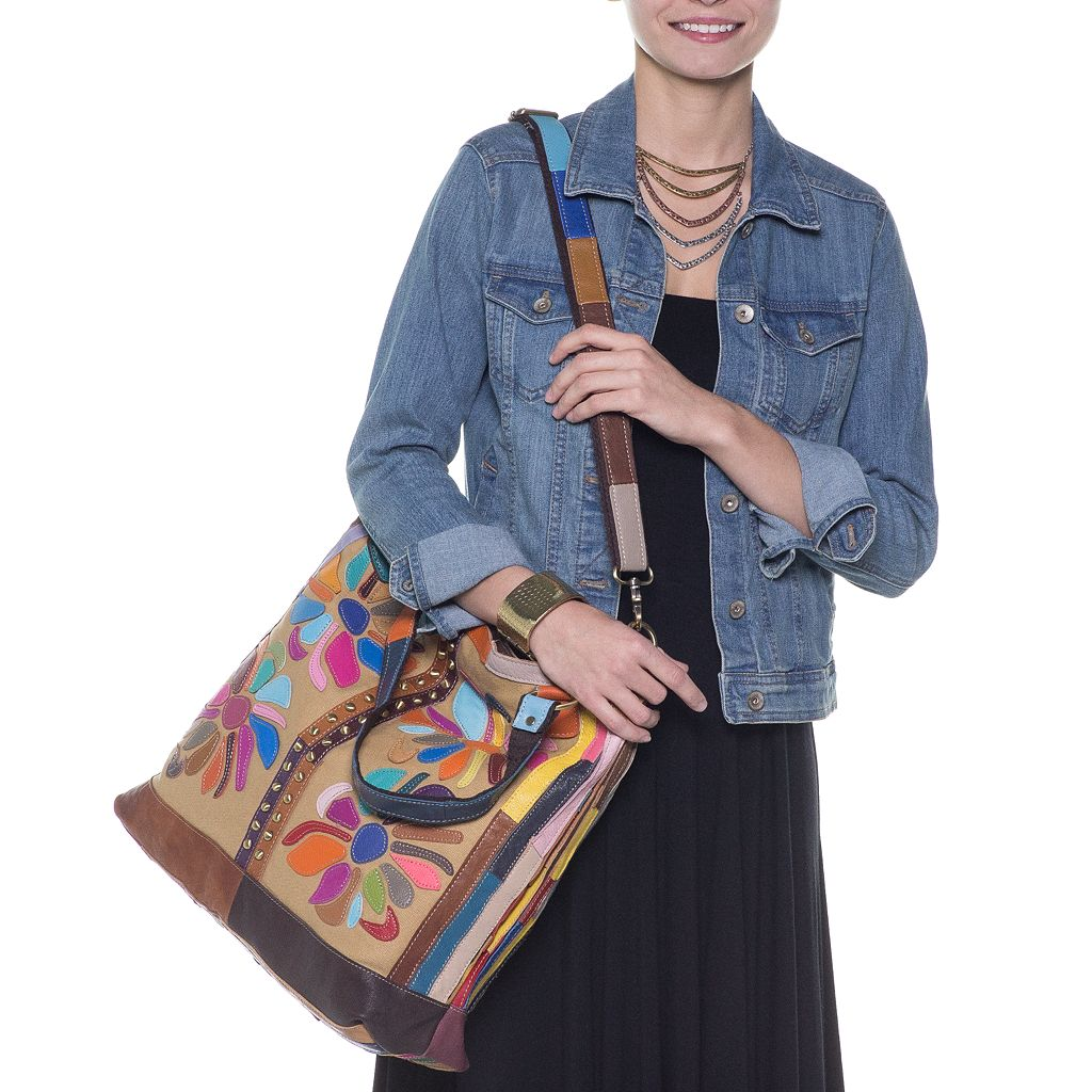 AmeriLeather Rosalie Leather and Canvas Floral Patched Convertible Tote
