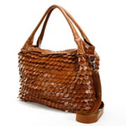 AmeriLeather Barque Scalloped Fringe Leather Oversized Tote