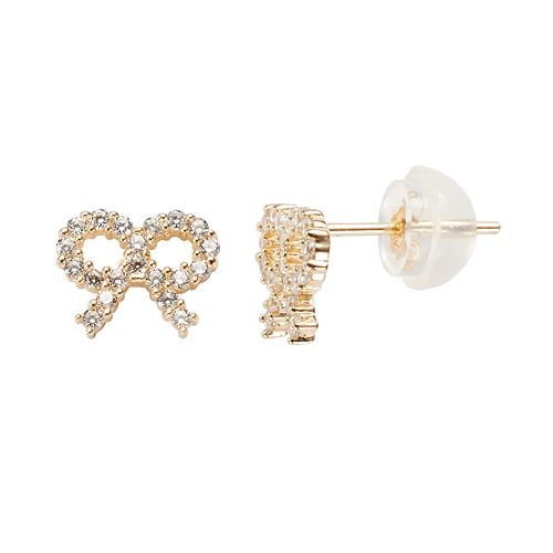 Junior Jewels 14k Gold Cubic Zirconia Bow Stud Earrings - Kids